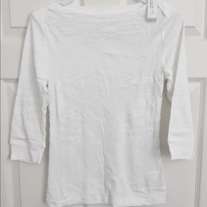 Old Navy 3/4 sleeve boat neck white tee